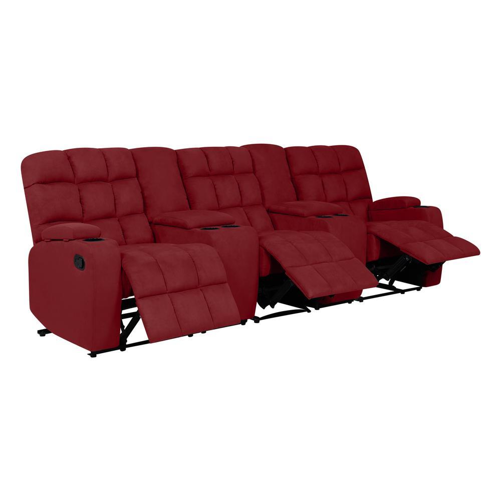 Prolounger Wall Hugger Reclinin Crimson Red Microfiber Sofa Power