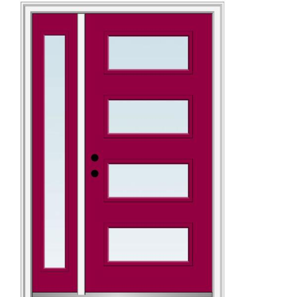 Mmi Door 51 In X 81 75 In Celeste Clear Low E Glass Right Hand 4 Lite Eclectic Painted Steel Prehung Front Door With Sidelite Z0353584r The Home Depot