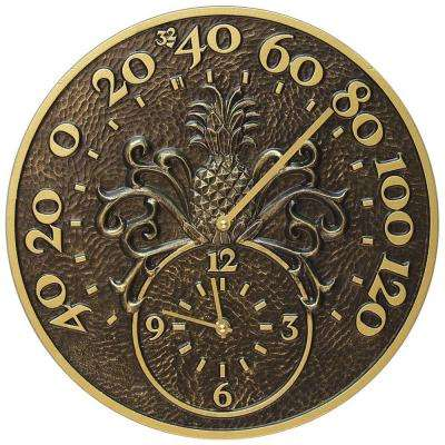 French Bronze Pineapple Thermometer with Clock