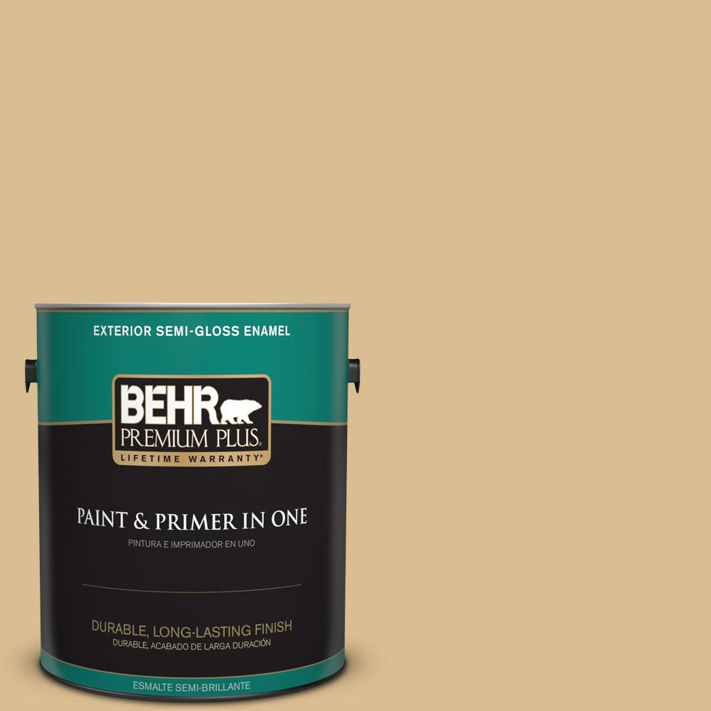 BEHR Premium Plus 1-gal. #340F-4 Expedition Khaki Semi-Gloss Enamel Exterior Paint