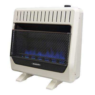 30,000 BTU Unvented Blue Flame Natural Gas Wall Heater with Thermostat and Blower