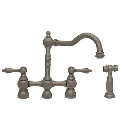 Englishhaus 2-Handle Bridge Kitchen Faucet with Side Sprayer in Brushed Nickel
