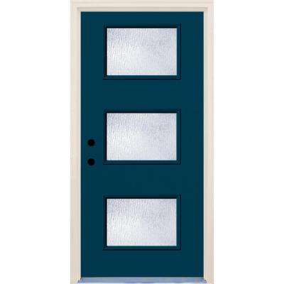 36 in. x 80 in. Atlantis Right-Hand 3 Lite Rain Glass Painted Fiberglass Prehung Front Door with Brickmould