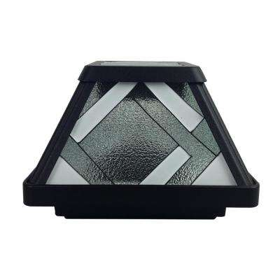 Montclair-Style Solar Black Outdoor Integrated LED Stained Glass Post Cap Deck Light