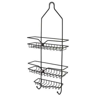 Classic 2 Shelf Shower Caddy with Bottom Hooks and Center Soap Dish Tray