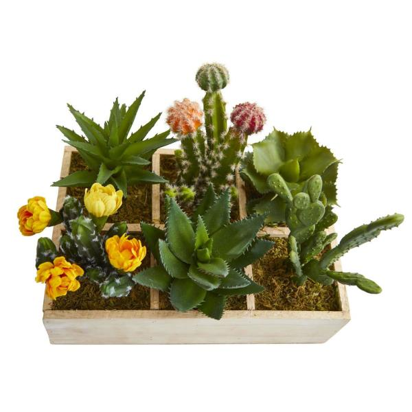 Nearly Natural 11 In Indoor Mixed Succulent Garden In Tray