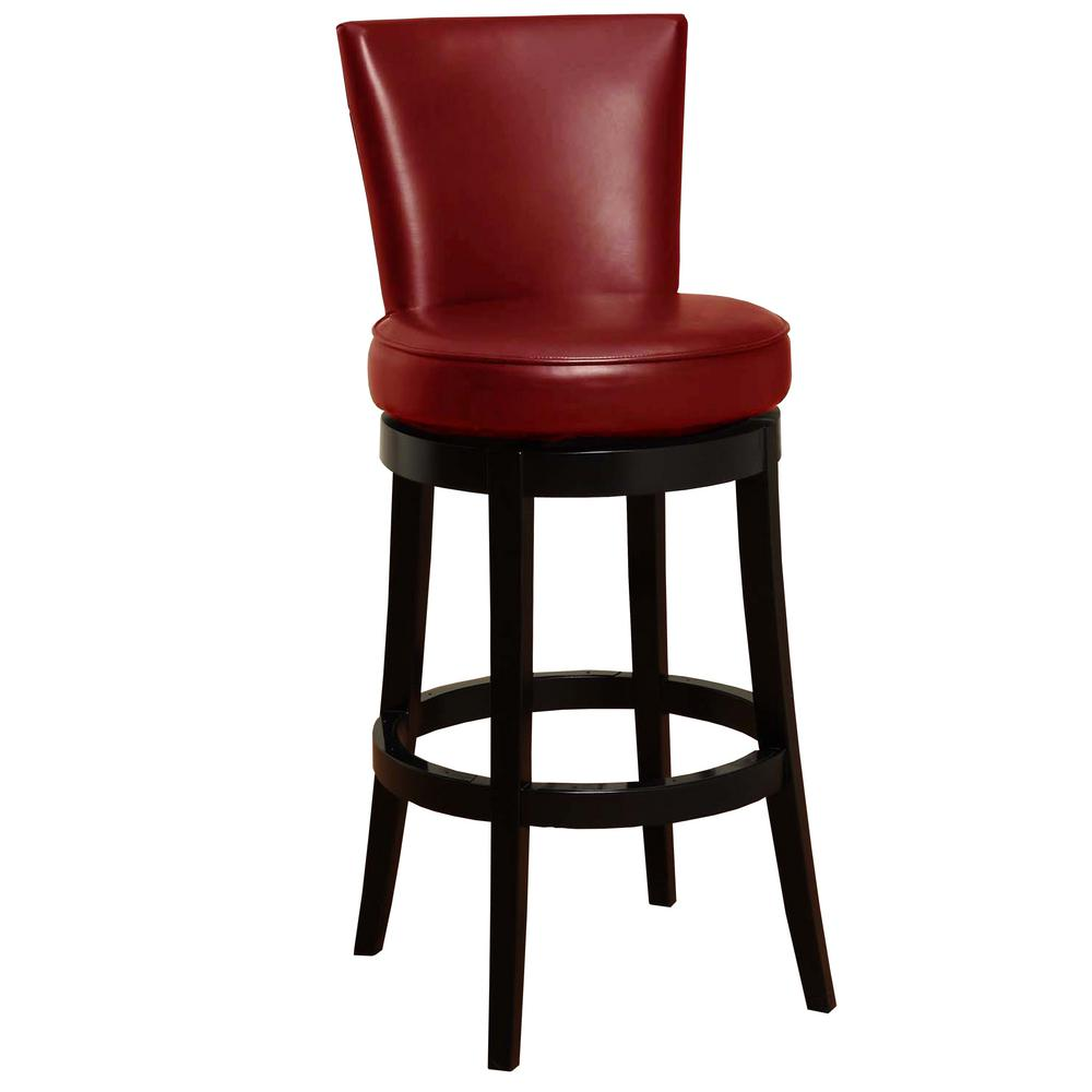 Red Bonded Leather And Black Wood Finish Swivel Barstool