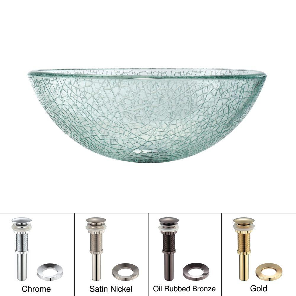 KRAUS 14 in. Mosaic Glass Vessel Sink in Clear with Pop-Up Drain and Mounting Ring in Satin Nickel