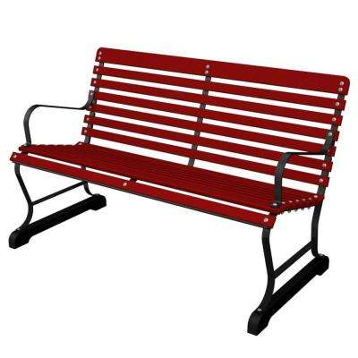 47 in. Vintage Black/Sunset Red Patio Bench