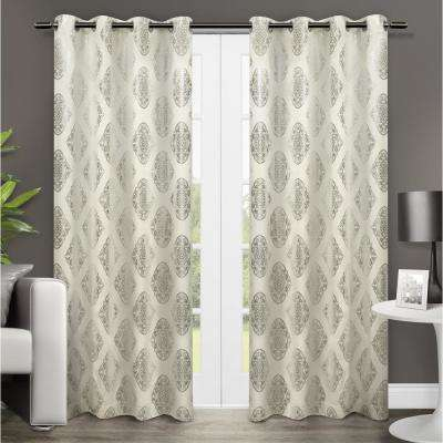 Augustus 54 in. W x 84 in. L Cotton Grommet Top Curtain Panel in Off-White (2 Panels)