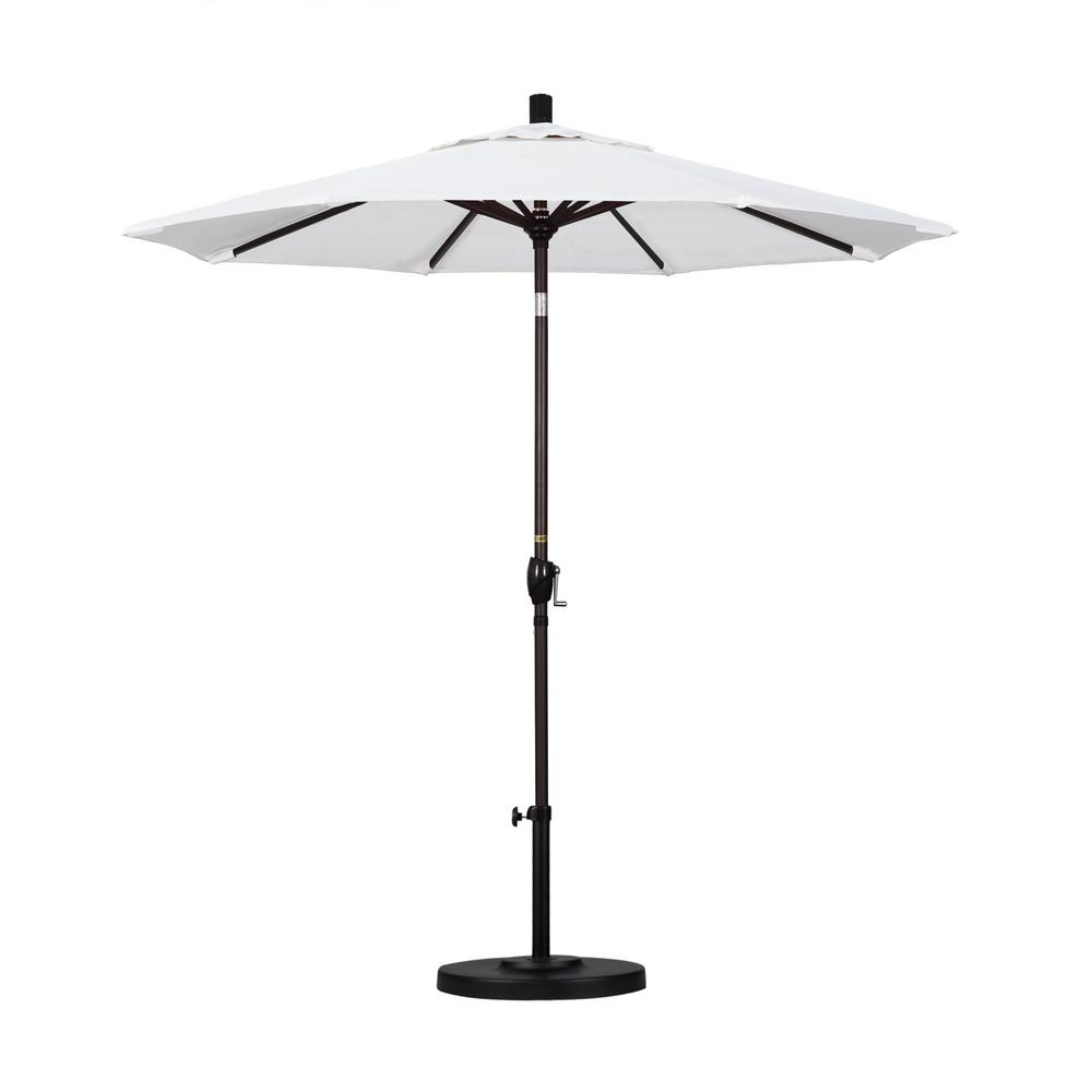 California Umbrella 7.5 ft. Bronze Aluminum Pole Market Aluminum Ribs Push Tilt Crank Lift Patio Umbrella in Natural Sunbrella