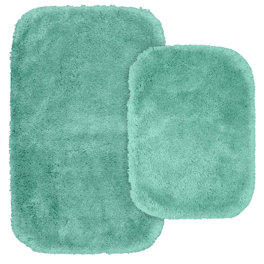 Finest Luxury 2 Piece Washable Bathroom Rug Set In Sea Foam