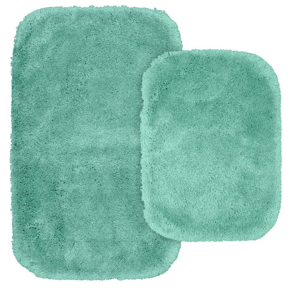 Finest Luxury 2 Piece Washable Bathroom Rug Set In Sea Foam