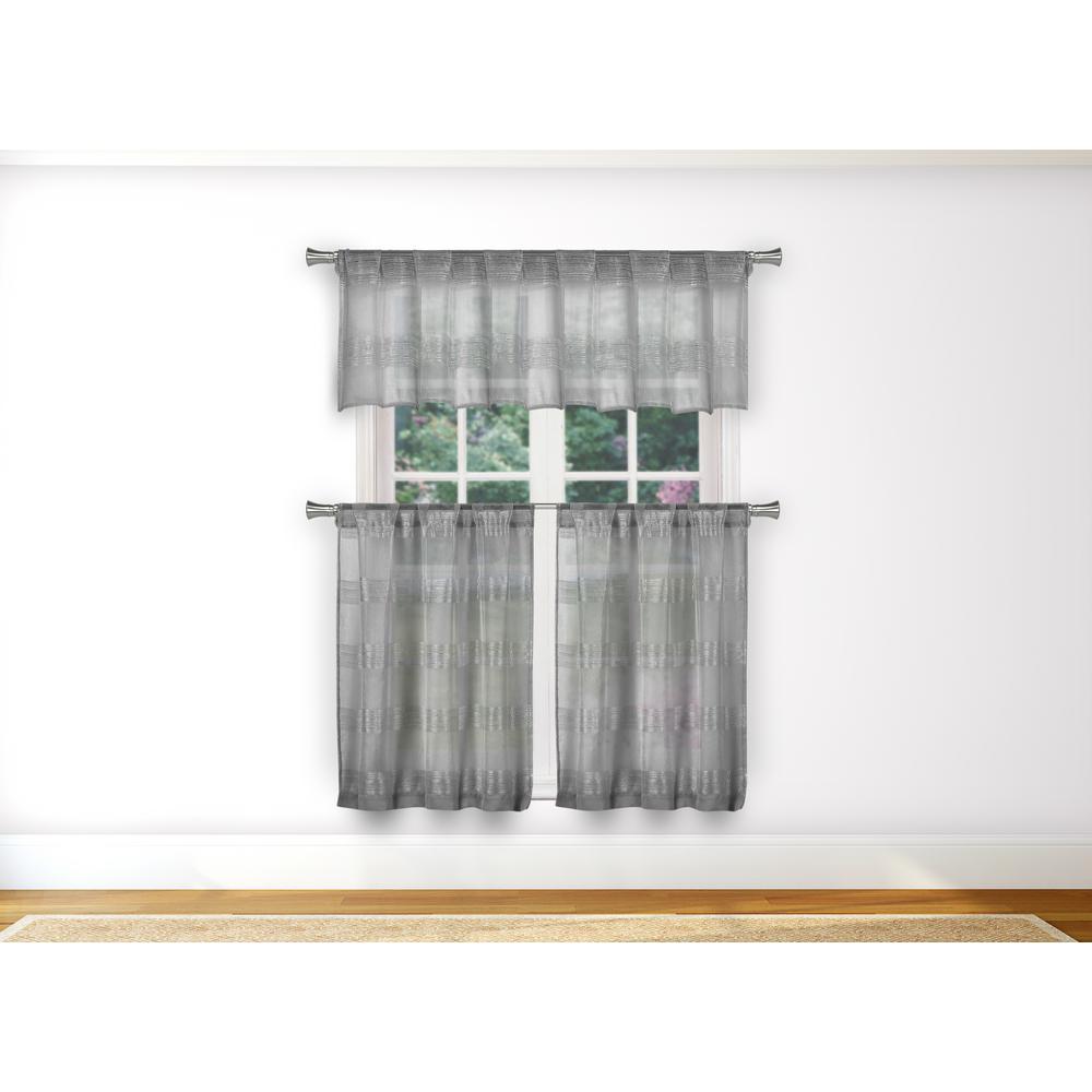 Loretta Kitchen Valance in Tiers/Silver - 15 in. W x 58 in. L (3-Piece)