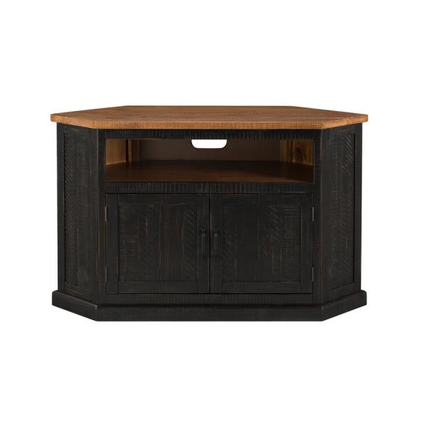 Rustic Corner Black and Honey Metal Corner TV Stand Fits TVs Up to 55 in. with Cable Management