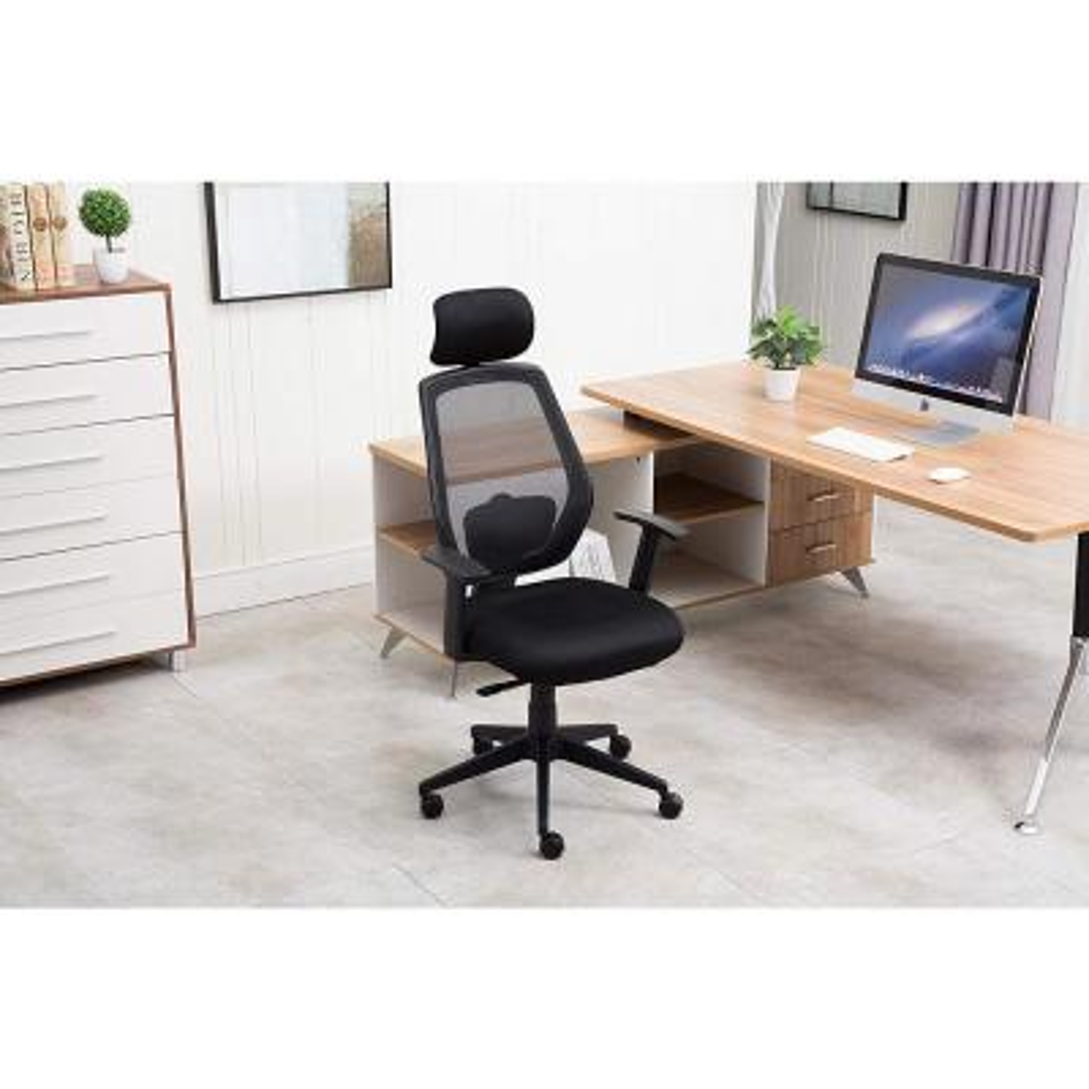 Black with Recline Tilt Lock and Headrest Mesh High Back Swivel Executive Office Chair