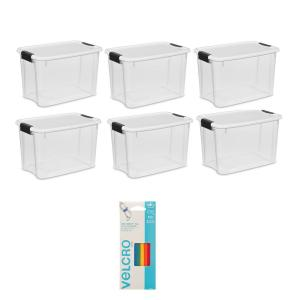 Deals on 6PK Sterilite 30 Qt. Storage w/Lid + 5PK VELCRO Brand Ties