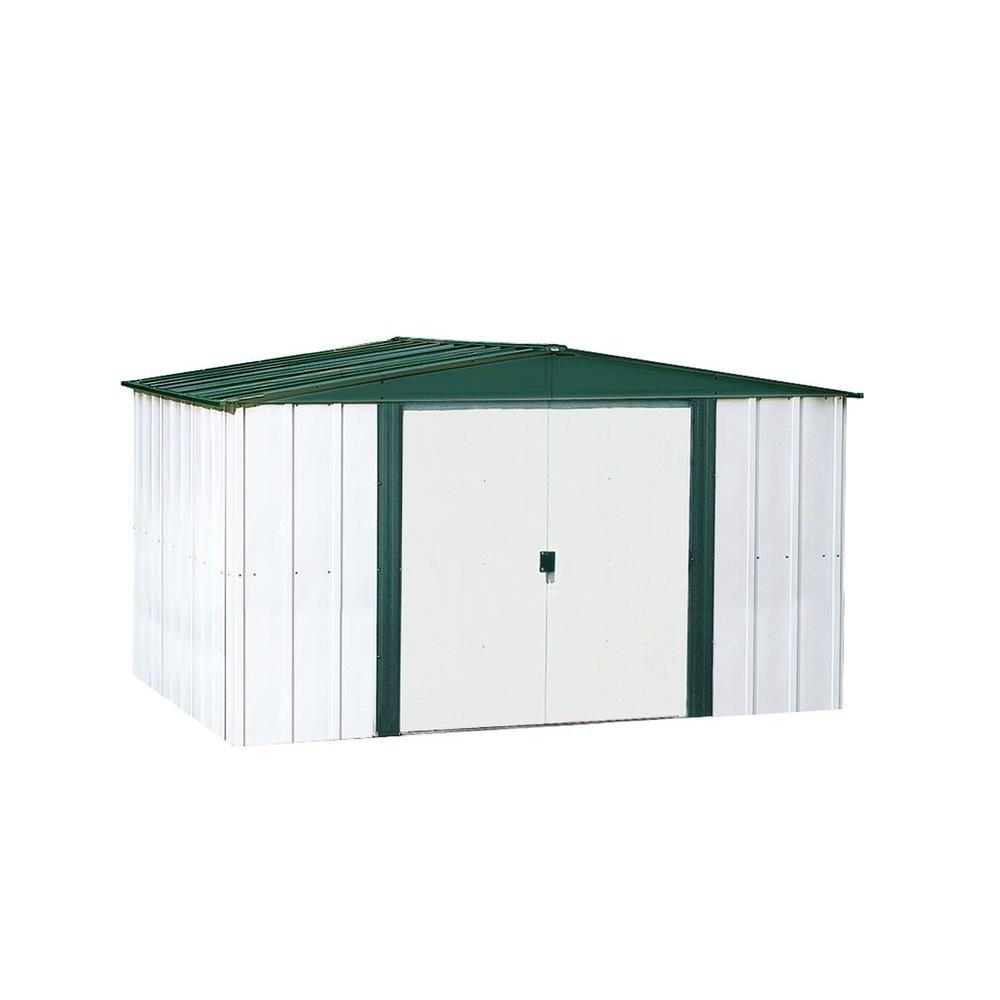 Arrow woodhaven 10 ft x 14 ft metal storage building for Building a storage shed