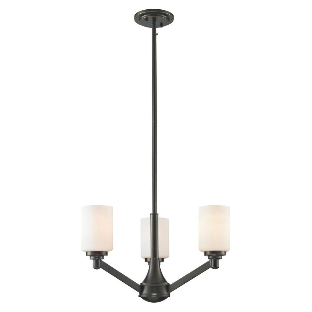 Chic 3-Light Coppery Bronze Chandelier