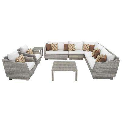 Cannes 9-Piece Patio Corner Sectional and Club Chair Seating Group with Moroccan Cream Cushions