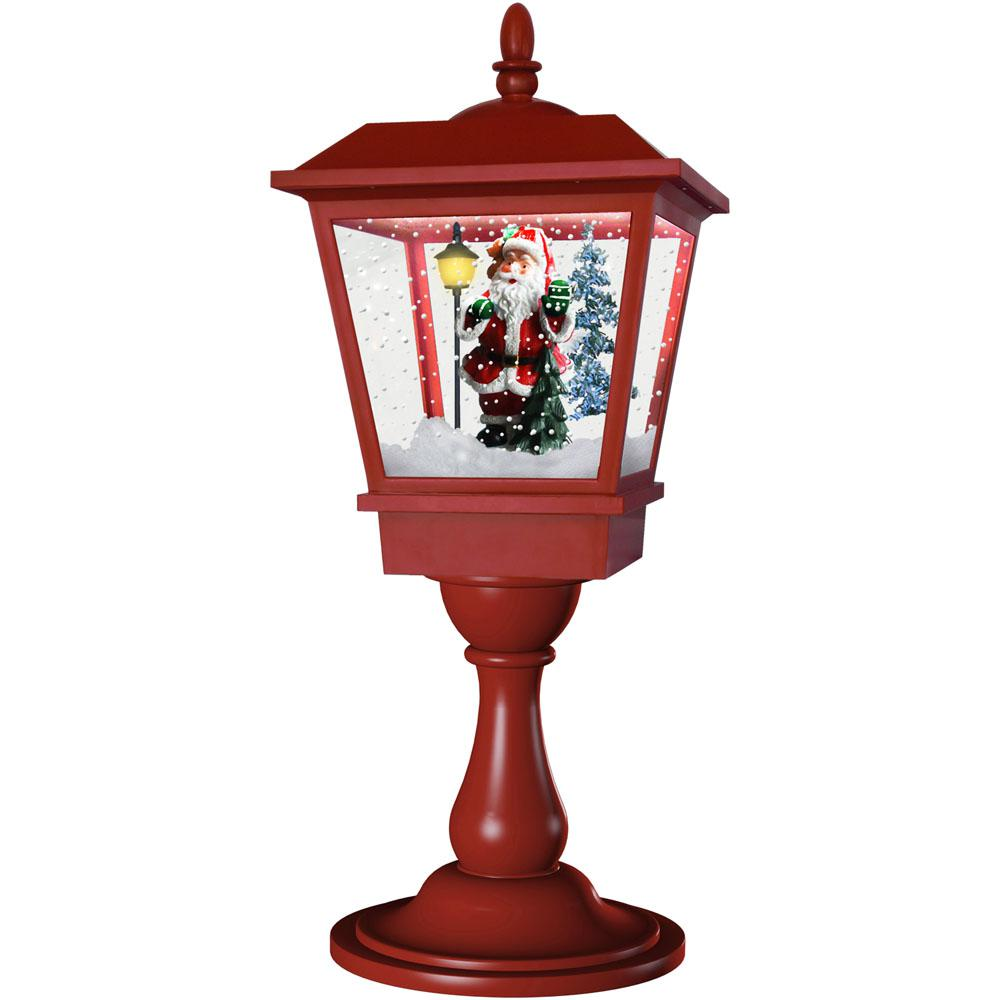 Fraser Hill Farm 25 in. Musical Tabletop Lantern in Red Featuring Santa Scene and Snow Function