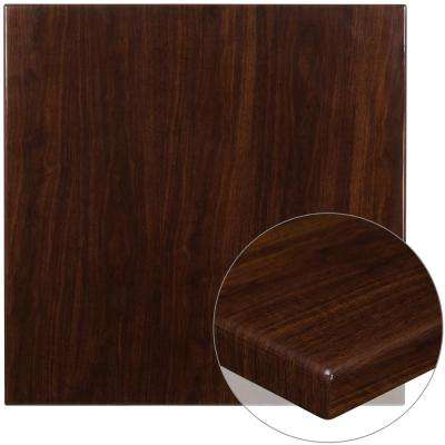 36 in. Square High-Gloss Walnut Resin Table Top with 2 in. Thick Drop-Lip
