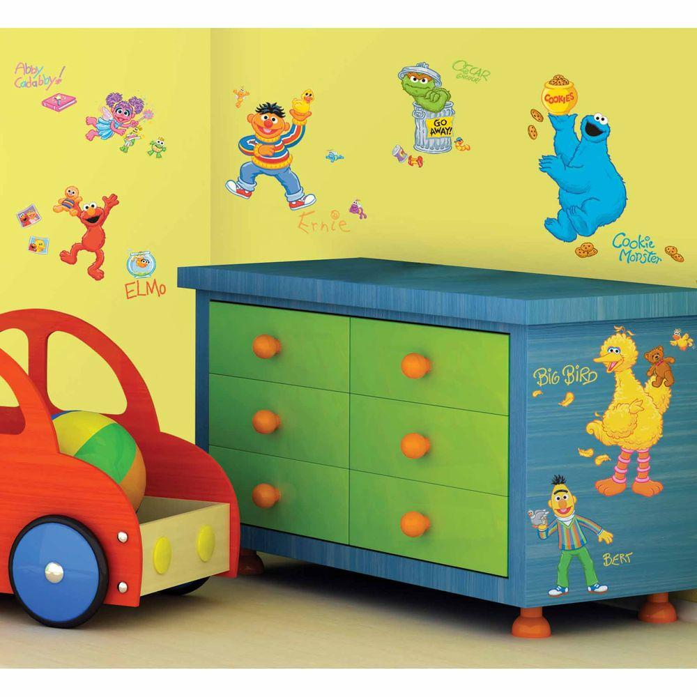 RoomMates 5 in. x 11.5 in. Sesame Street Peel and Stick Wall Decals ...