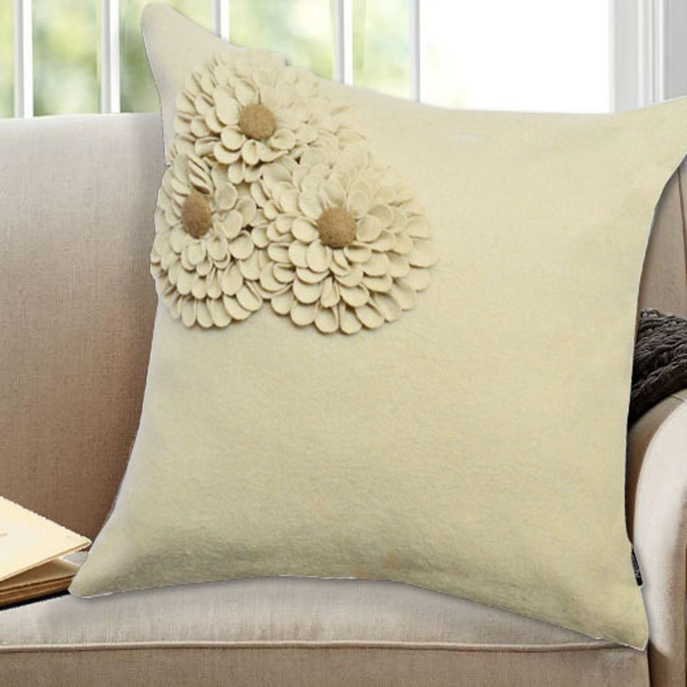 A1HC Woolen Felt Floral Pillow, 100% Woolen Felt, 18 in. x 18 in. Decorative Pillow