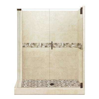 Tuscany Grand Hinged 36 in. x 42 in. x 80 in. Right-Hand Corner Shower Kit in Brown Sugar and Old Bronze Hardware