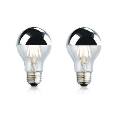 40W Equivalent Soft White A19 Silver Tipped Clear Lens Nostalgic LED Light Bulb (2-Pack)