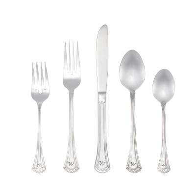Excelsior Monogrammed Letter W 46-Piece Silver Stainless Steel Flatware Set