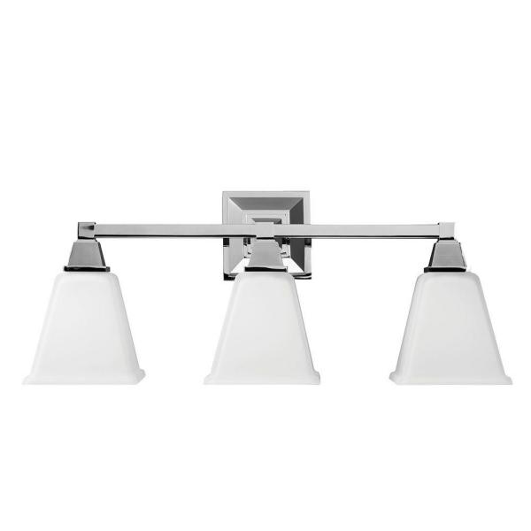 Denhelm 24.25 in. W. 3-Light Chrome Wall/Bath Vanity Light with Inside White Painted Etched Glass