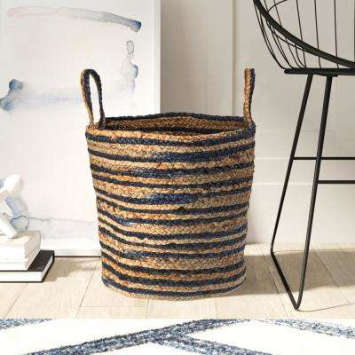 Wonder Striped Braided Navy Blue Natural Jute Storage Decorative Basket with Handles