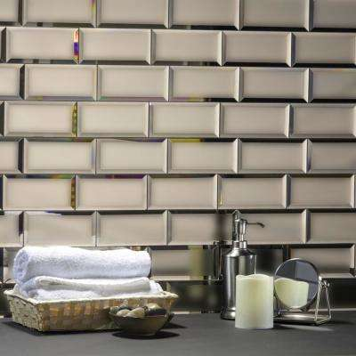Echo 3 in. x 6 in. Matte Gold Glass Mirror Peel and Stick Decorative Wall Tile Backsplash (8-Pack)