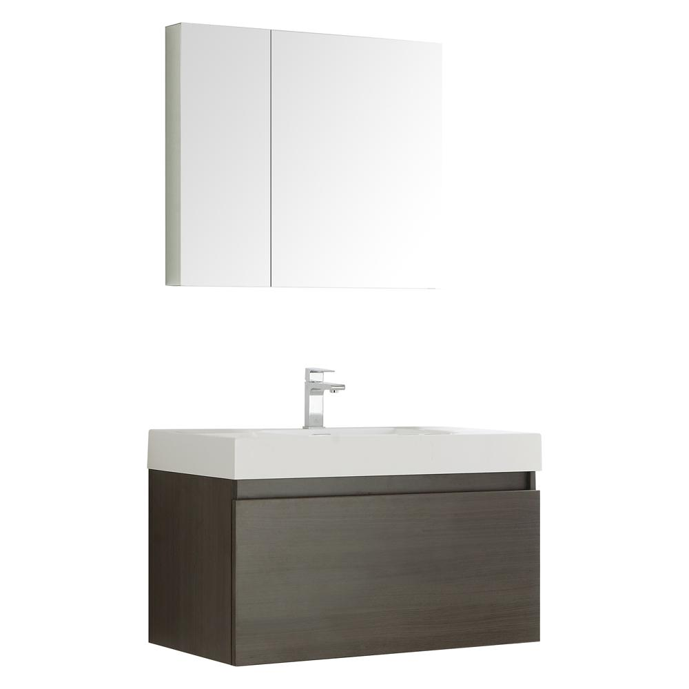 Fresca Mezzo 36 in. Vanity in Gray Oak with Acrylic Vanity Top in White with White Basin and Mirrored Medicine Cabinet