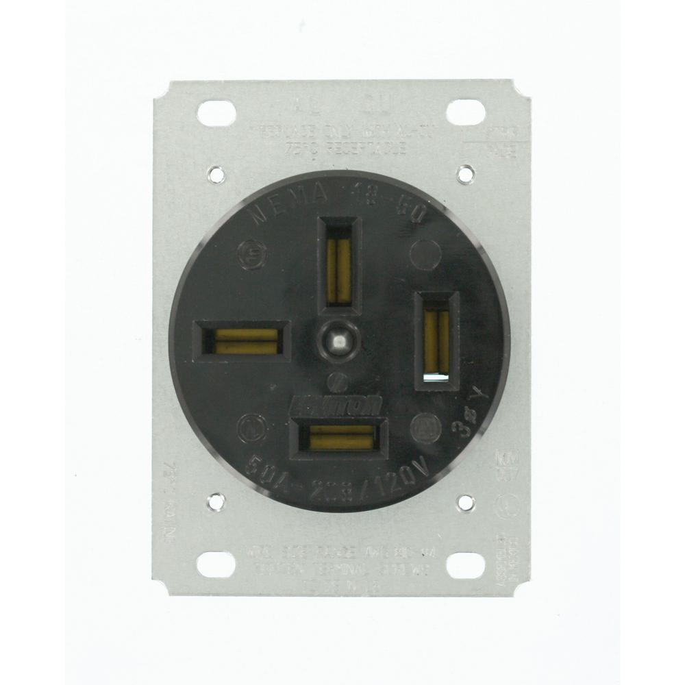 Leviton 50 Amp 120/208-Volt Flush Mounting Non-Grounding ...
