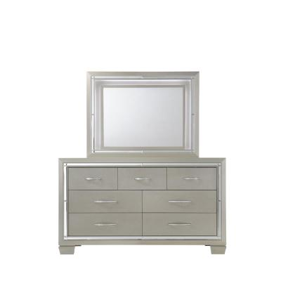 Glamour 7-Drawer Dresser with Mirror in Champagne