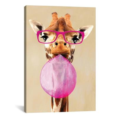 """Clever Giraffe With Bubblegum"" by Coco de Paris Canvas Wall Art"