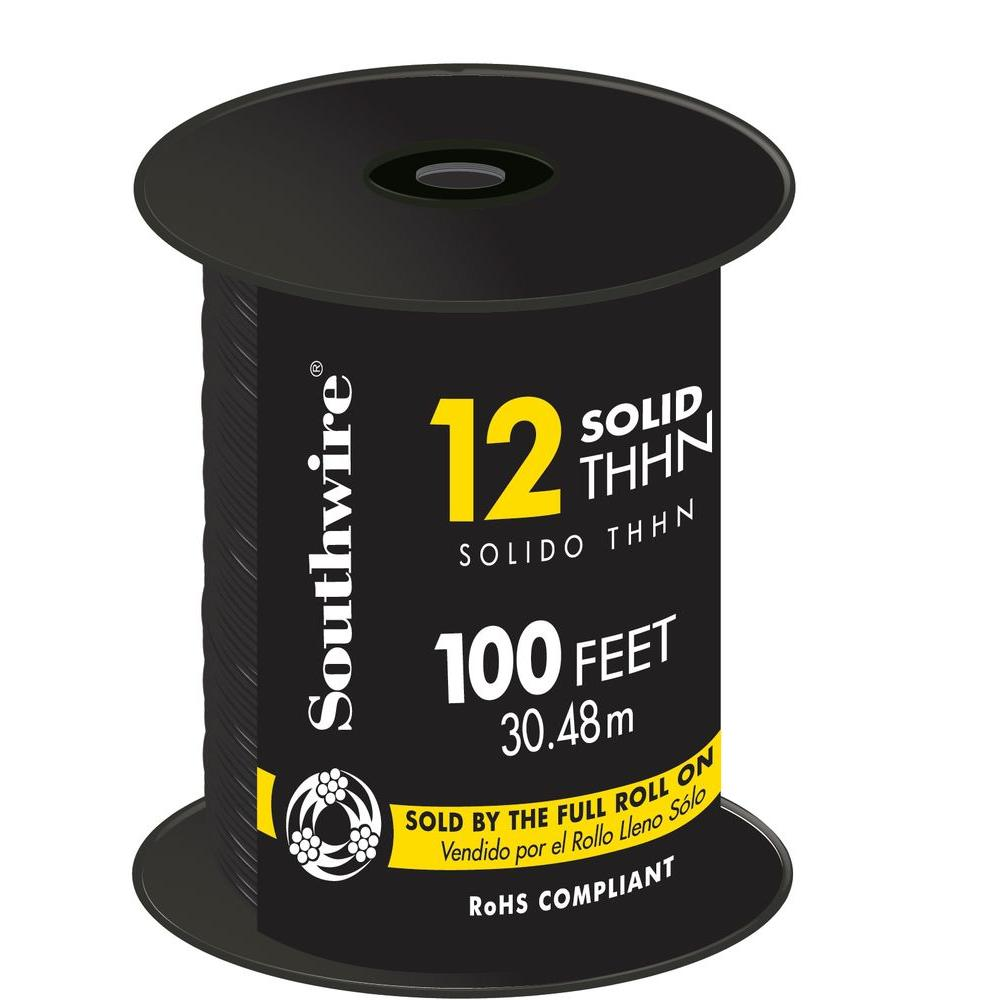 Southwire 100 ft 14 black solid thhn wire 11579018 the home depot 12 black solid cu thhn wire greentooth Images