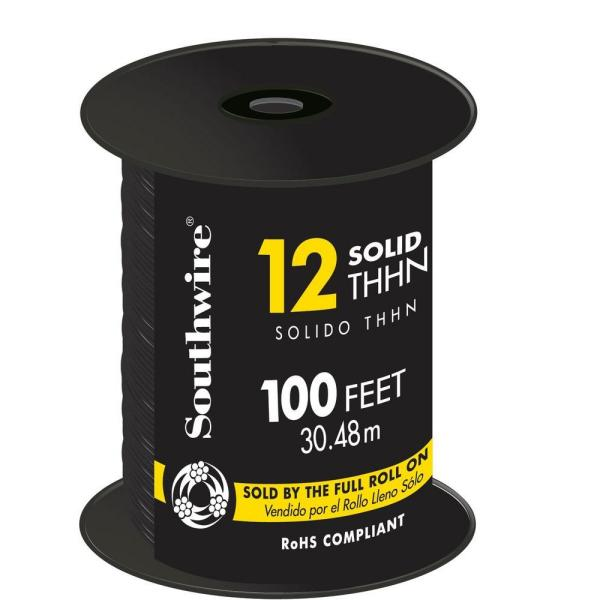 100 ft. 12 Black Solid CU THHN Wire