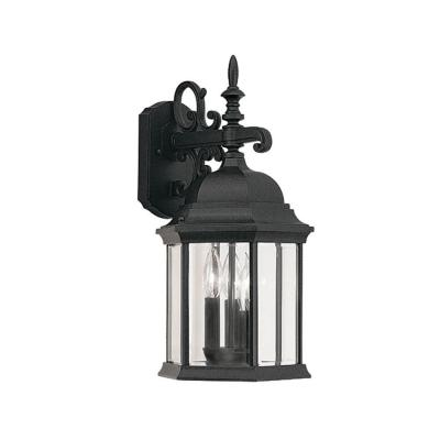 Erving Collection 3-Light Black Outdoor Wall-Mount Lantern Sconce