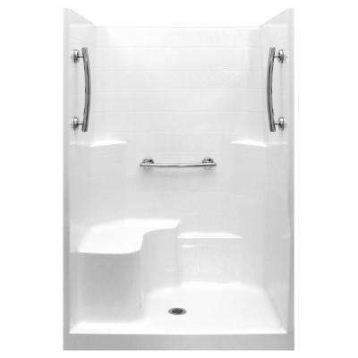 Ultimate 37 in. x 48 in. x 80 in. 1-Piece Low Threshold Shower Stall in White, Grab Bars, LHS Molded Seat, Center Drain