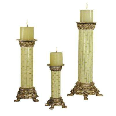 Round Ivory Tile Candle Holder Set Candle included