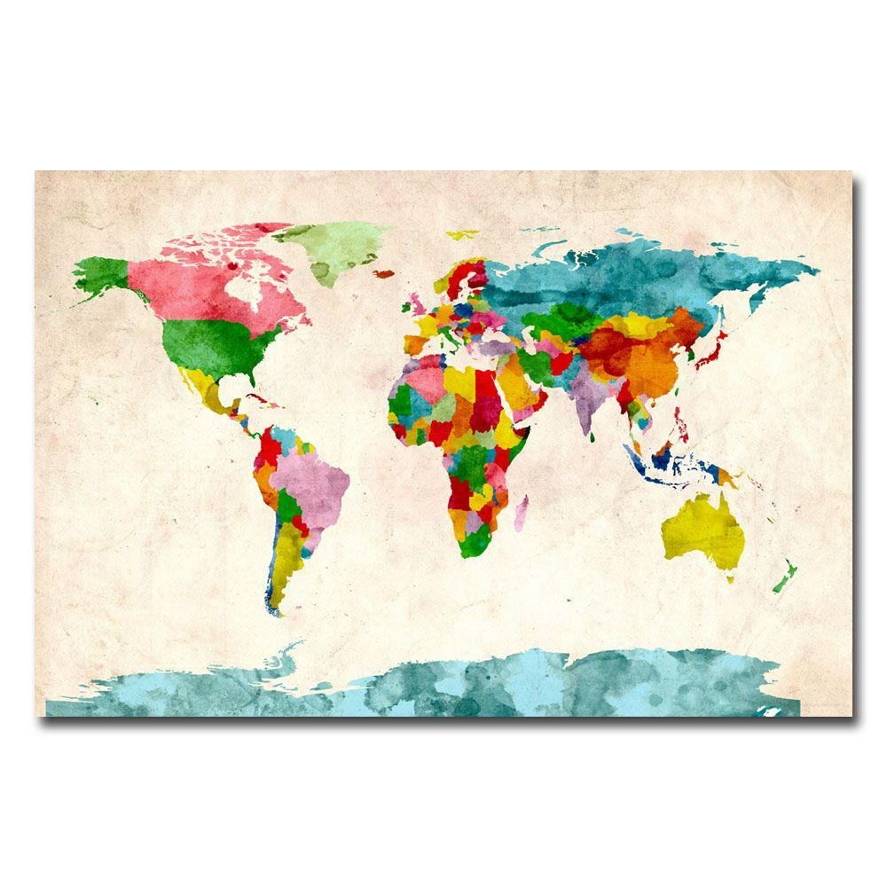 16 in. x 24 in. Watercolor World Map Canvas Art