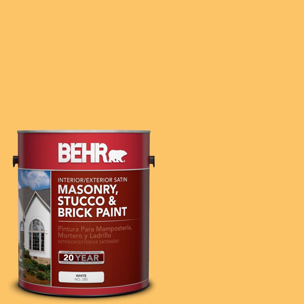 1 gal. #PPU6-6 Honey Locust Satin Interior/Exterior Masonry, Stucco and Brick Paint