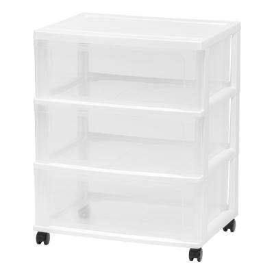 3 Drawer Plastic Wheeled Wide Chest in White