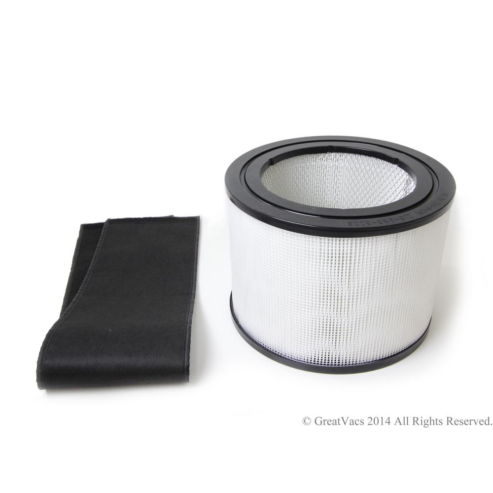 GV New Hepa Filter and Charcoal filter for the Filter Queen Defender Air Purifier Cleaner, Whites Replacement HEPA and Charcoal Filter for the Filter Queen Defender air purifier. Color: Whites.