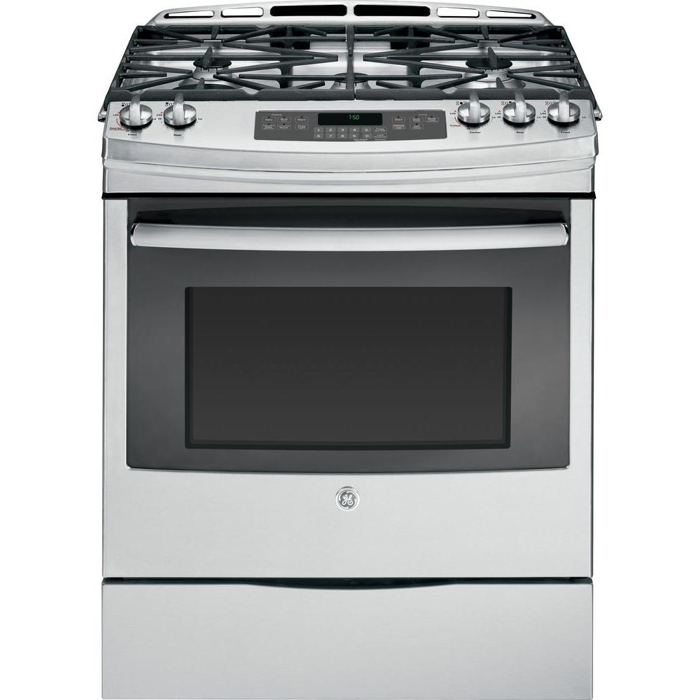 GE 5.6 cu. ft. Slide-In Gas Range with Self-Cleaning Convection Oven in Stainless Steel