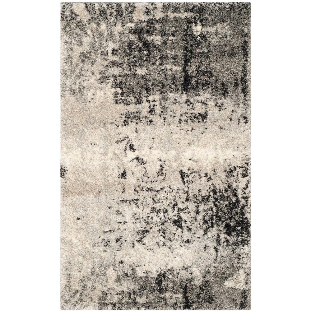 Retro Light Grey/Grey 3 ft. x 5 ft. Area Rug