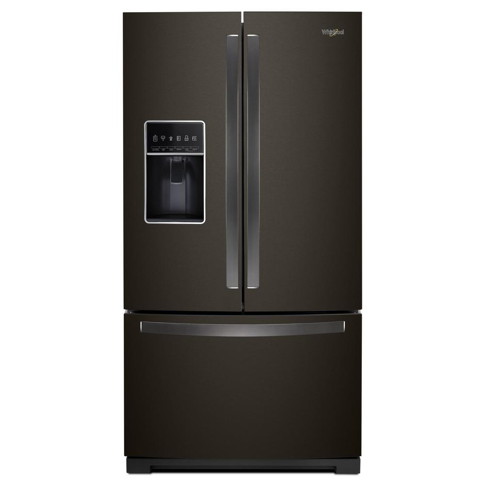 Whirlpool 27 cu. ft. French Door Refrigerator in Fingerprint Resistant Black Stainless -  WRF767SDHV